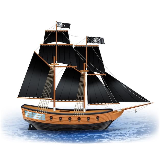 黒い帆と海のジョリー・ロジャー旗の木製海賊船 無料ベクター