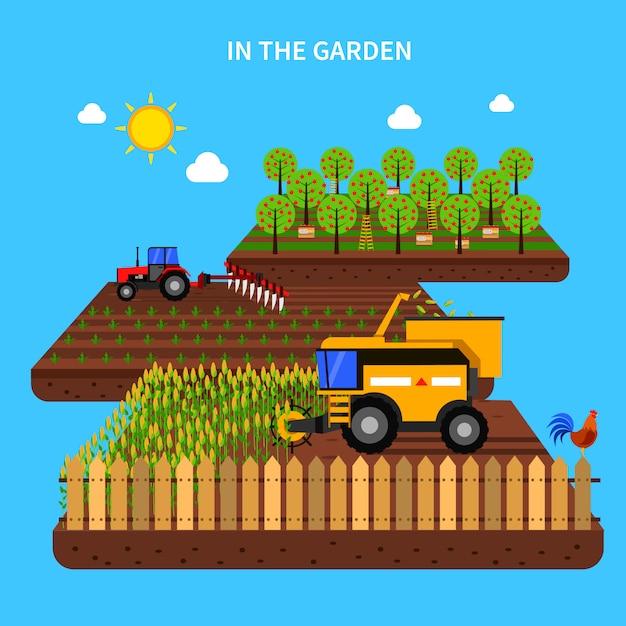 農業コンセプトイラストレーション 無料ベクター