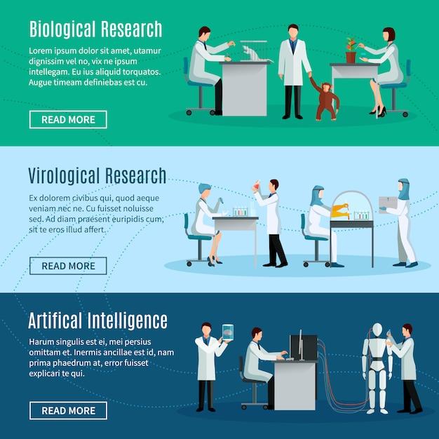 生物学的なウイルス学的および人工知能を作り上げている科学者との科学的な水平バナー 無料ベクター