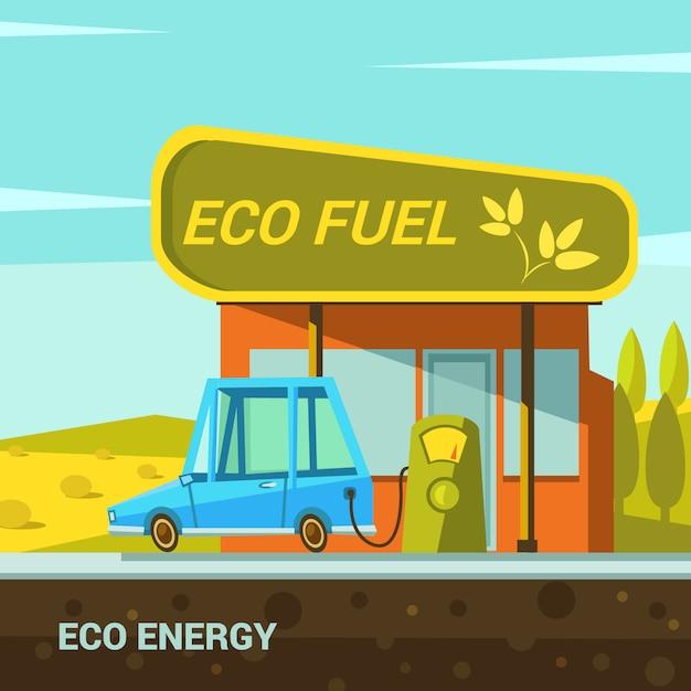 エコ燃料ステーションレトロスタイルの生態エネルギー漫画ポスター 無料ベクター