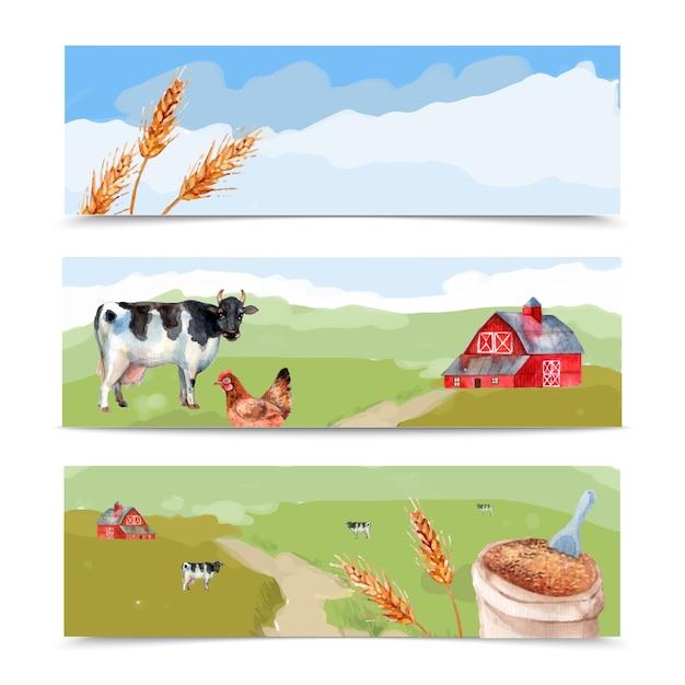 牧草地と小屋の水彩画の横の旗 無料ベクター
