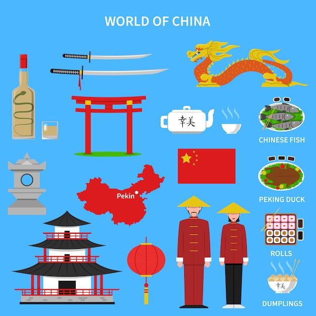 Набор иконок китая Бесплатные векторы
