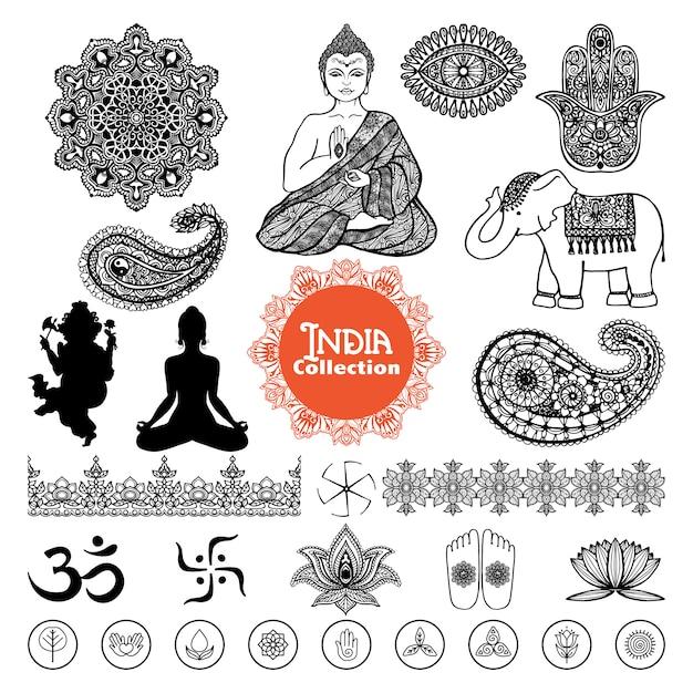 手描きのインドの要素セット 無料ベクター