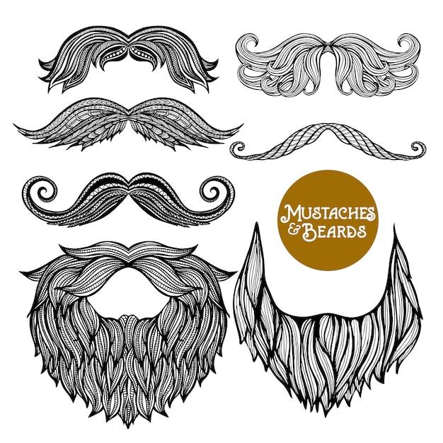 手描きの装飾的なひげと口ひげセット 無料ベクター