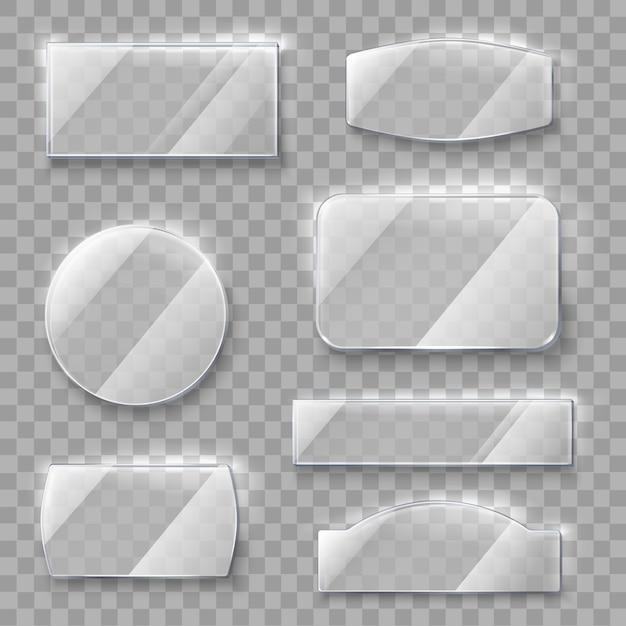 Прозрачные стеклянные пластины Бесплатные векторы
