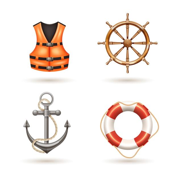 Морские реалистичные иконки с якорной жизнью спасательный жилет спасателя и руля Бесплатные векторы