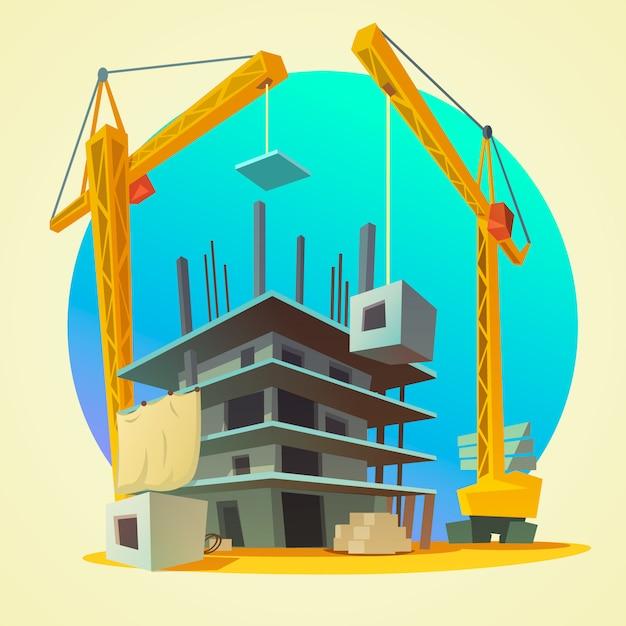 レトロなスタイルの建設機械の漫画と家の建物のコンセプト 無料ベクター