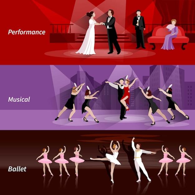 バレエ音楽とパフォーマンスの劇場の人々の横のバナーセット 無料ベクター
