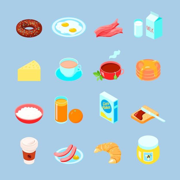 朝食の食べ物と飲み物カラフルなフラットアイコンコーヒー茶の卵とセット 無料ベクター