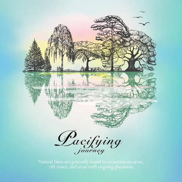 森の風景の反射手描きのポスター 無料ベクター