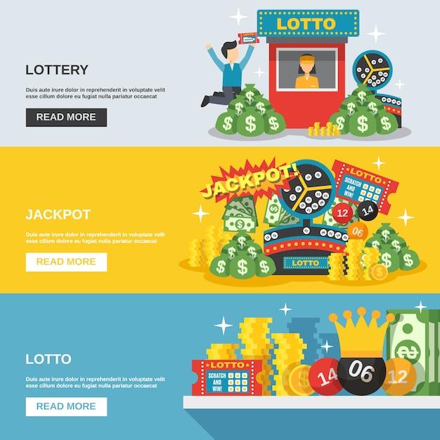Набор баннеров лотереи Бесплатные векторы