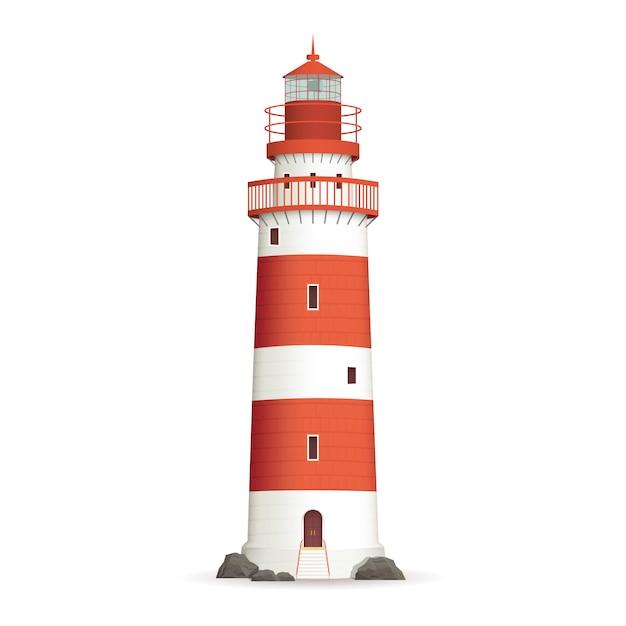 現実的な灯台のイラスト 無料ベクター