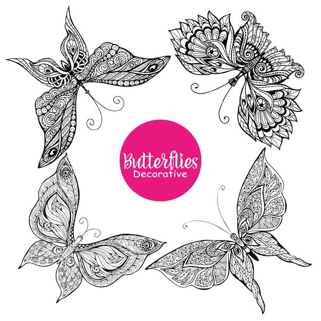 装飾的な蝶のセット 無料ベクター
