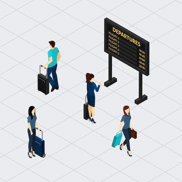 空港ホール乗客アイソメトリックバナー 無料ベクター