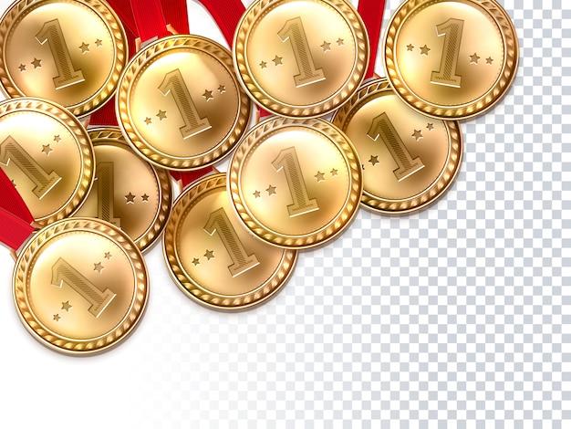 ゴールデンメダルの最初の勝者の背景ポスター 無料ベクター