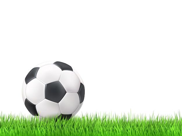 サッカーボールの草の背景 無料ベクター