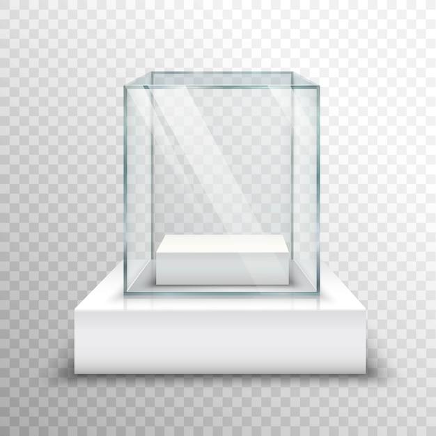 Пустая стеклянная витрина прозрачная Бесплатные векторы