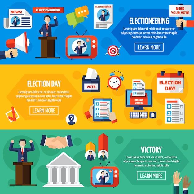 選挙と投票フラットバナー 無料ベクター