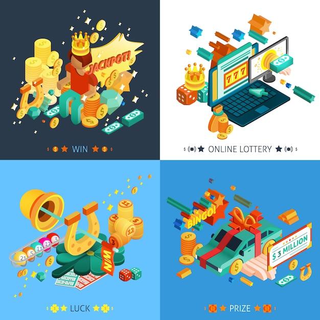 Набор иконок концепции лотереи и джекпот Бесплатные векторы