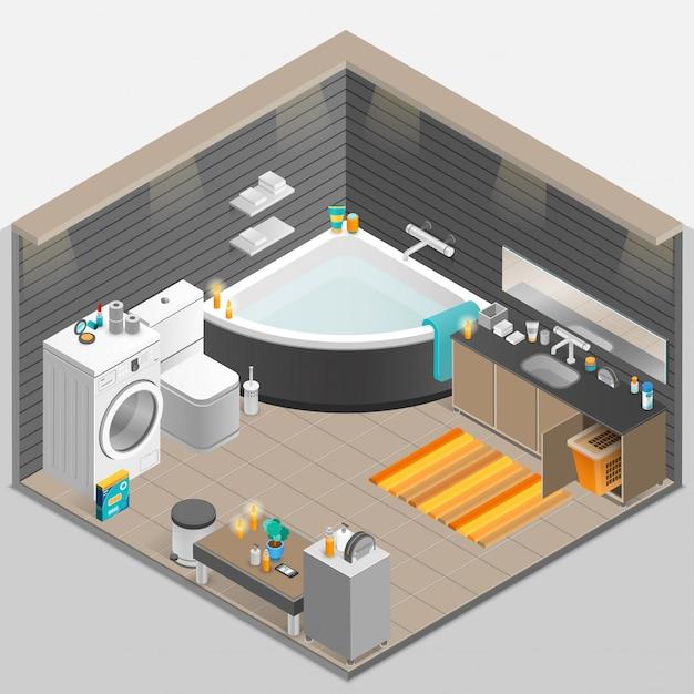 バスルーム等角投影図 無料ベクター