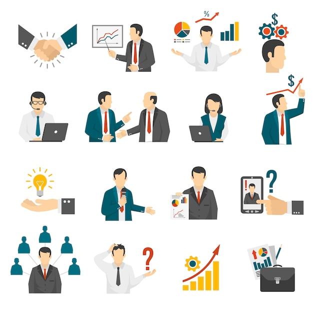 ビジネストレーニングコンサルティングサービスのアイコンを設定します。 無料ベクター