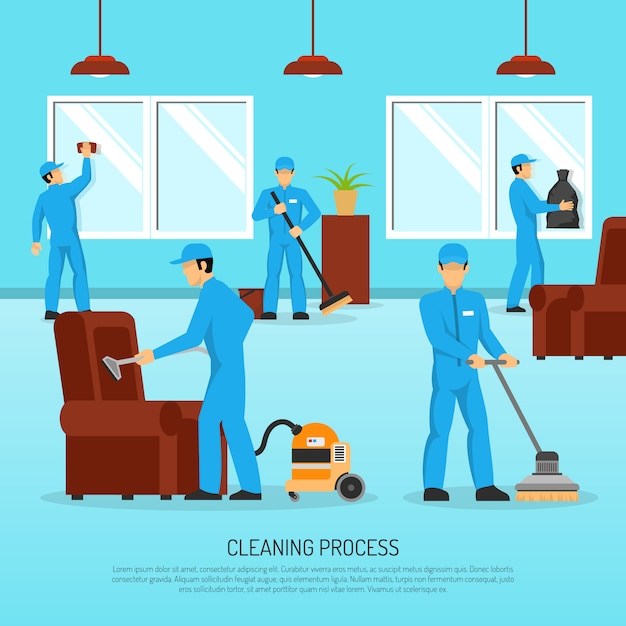 産業用クリーニングチームワークフラットポスター 無料ベクター