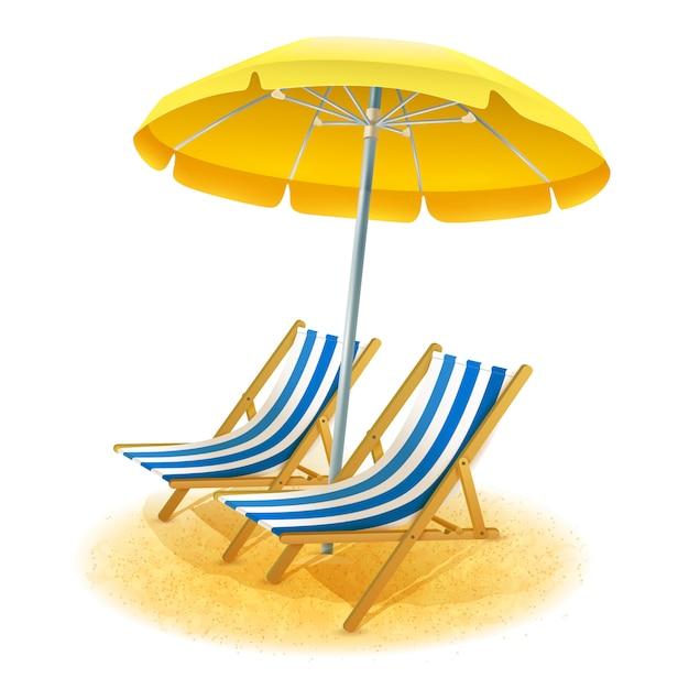 Пляжный курорт иллюстрация Бесплатные векторы