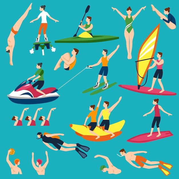 Набор водных видов спорта и развлечений Бесплатные векторы