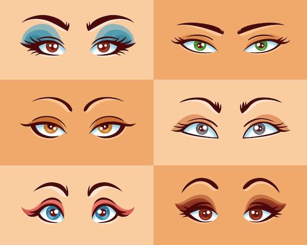 女性の目のセット 無料ベクター