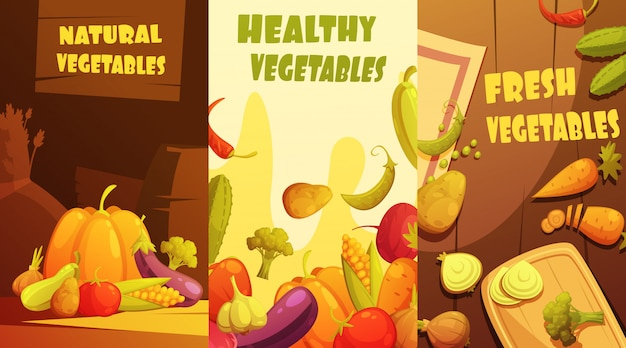 Свежие здоровые органические фермеры рынок овощей вертикальные баннеры состав плакат Бесплатные векторы