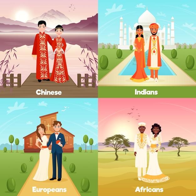 多文化の結婚式のカップルデザインコンセプト 無料ベクター