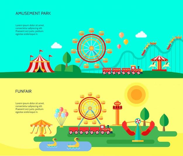 Парк развлечений, парк аттракционов, аттракционы, горизонтальные баннеры с цирковой палаткой Бесплатные векторы