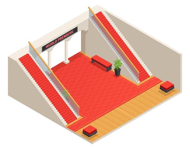Цвет изометрического дизайна фойе с красной лестницей и ковром Бесплатные векторы