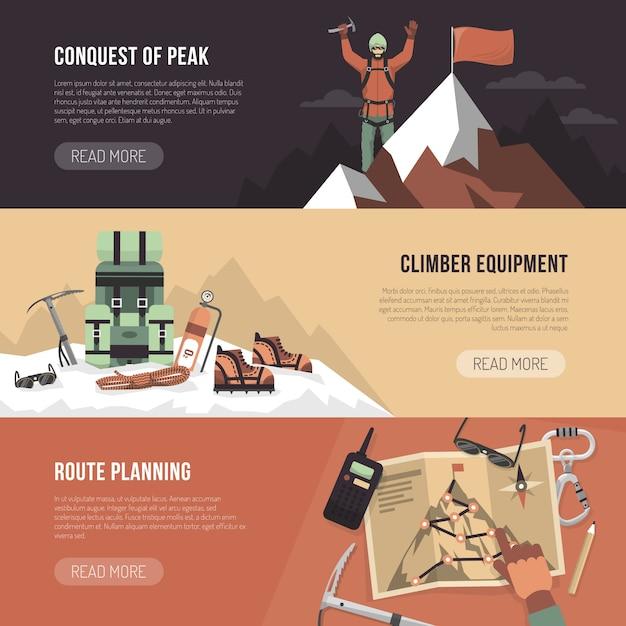 登山デザインバナー 無料ベクター