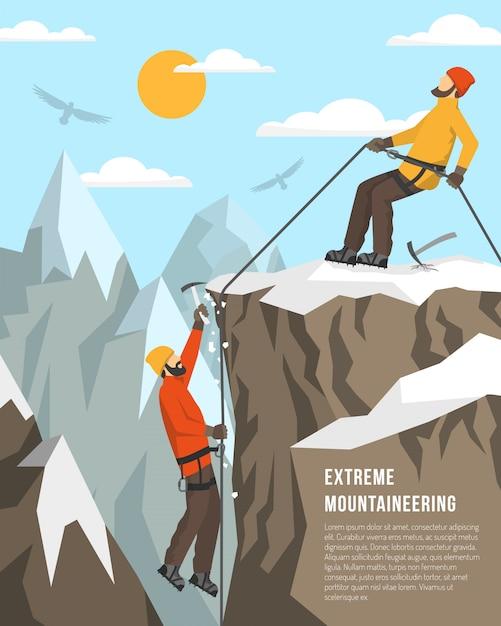極端な登山イラスト 無料ベクター