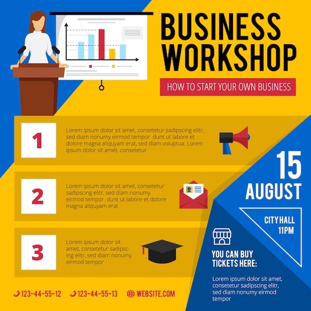 Объявление о тренинге для начинающих бизнес с краткой датой и временем программы Бесплатные векторы