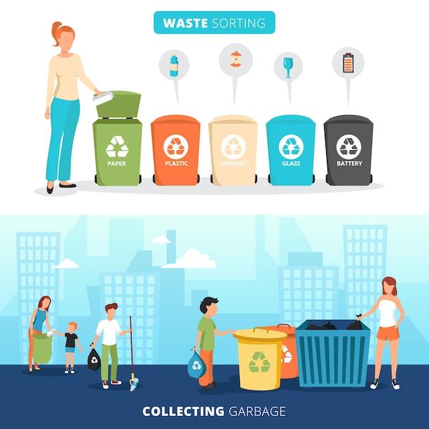 Контейнеры для сортировки мусора для бумажного пластика, стекла и баннеры для батарей с мусоросборниками Бесплатные векторы