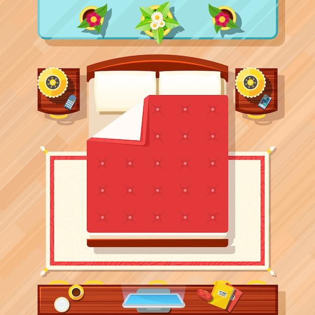 寝室デザインイラスト 無料ベクター