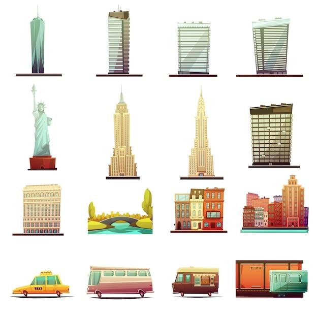 Здания города нью-йорка достопримечательности туристические достопримечательности и транспортные элементы Бесплатные векторы