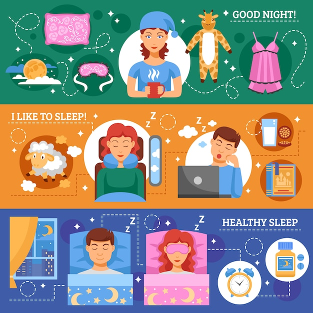Здоровый сон концепции плоские баннеры набор Бесплатные векторы