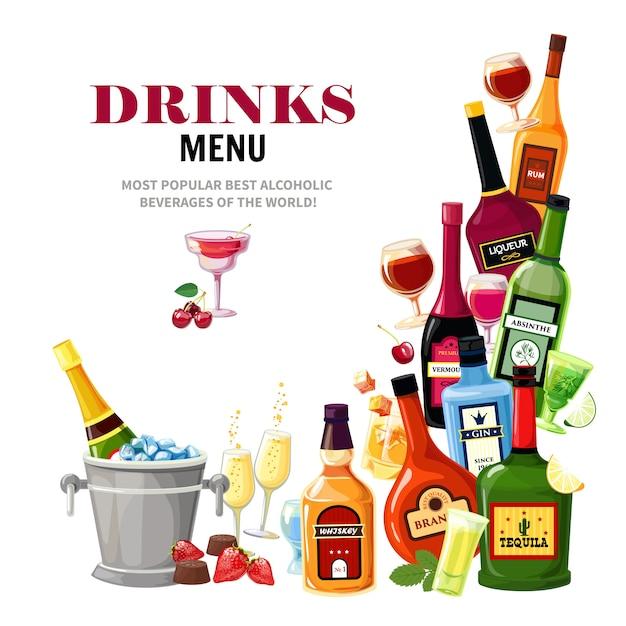 Алкогольные напитки напитки меню плоский плакат Бесплатные векторы