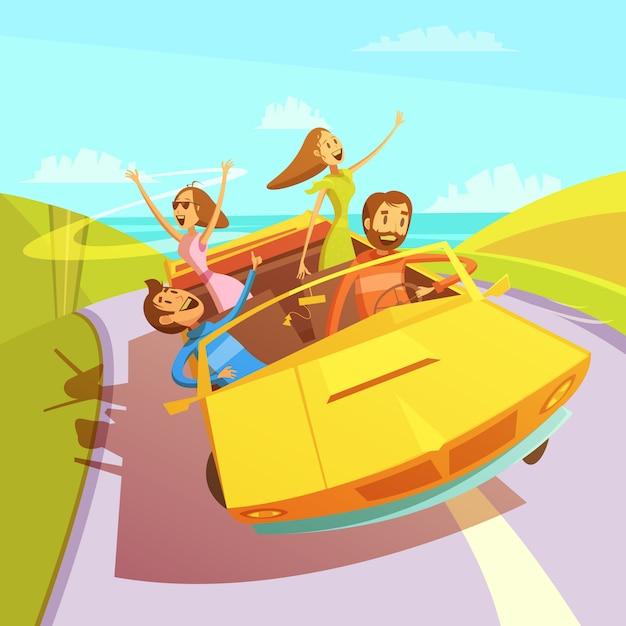 男性と女性と海の背景にカブリオレで旅行する友達 無料ベクター