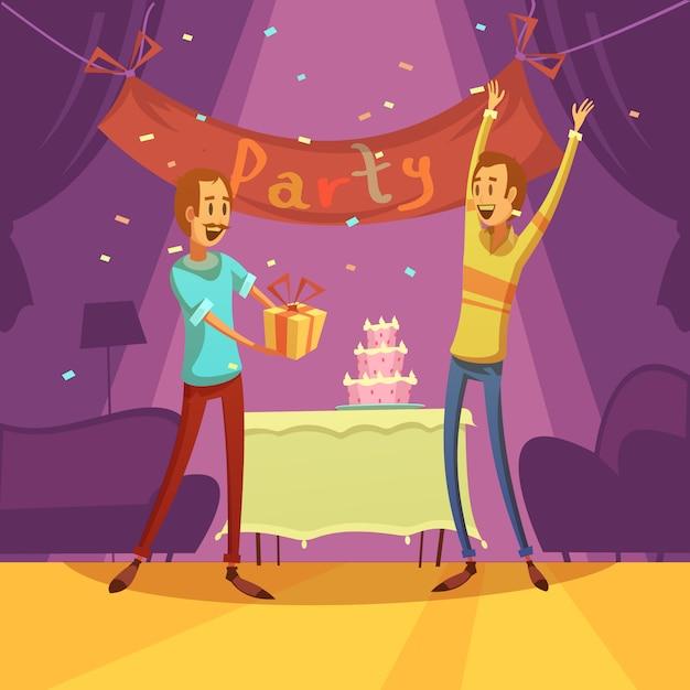 友達とパーティーの背景にケーキのデコレーションとプレゼント 無料ベクター
