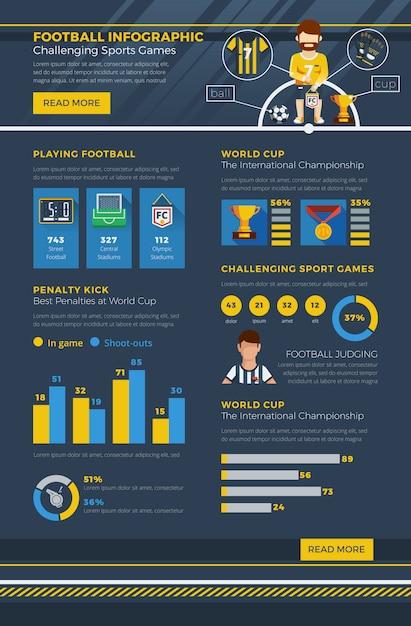 Футбольная инфографика Бесплатные векторы