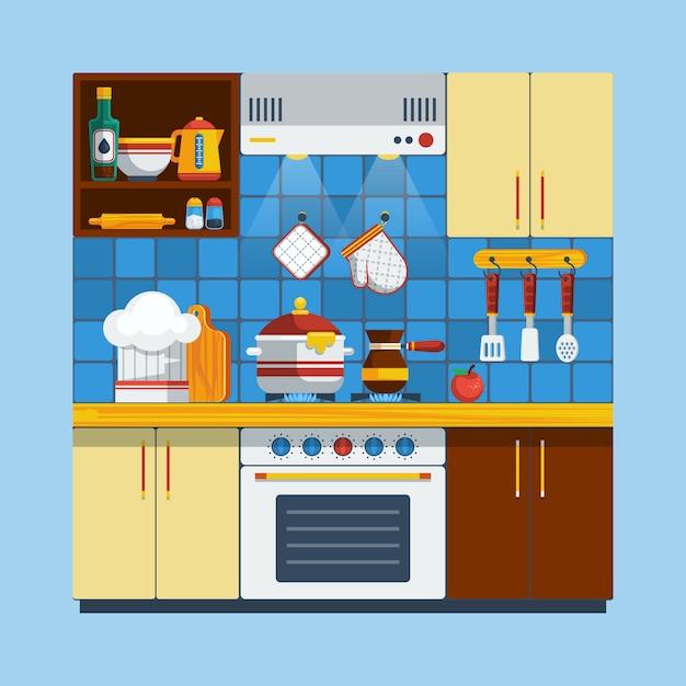 キッチンインテリアの図 無料ベクター