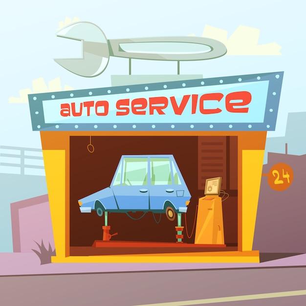オートサービスビルの漫画の背景 無料ベクター