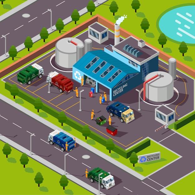 Завод по переработке отходов изометрические иллюстрации Бесплатные векторы