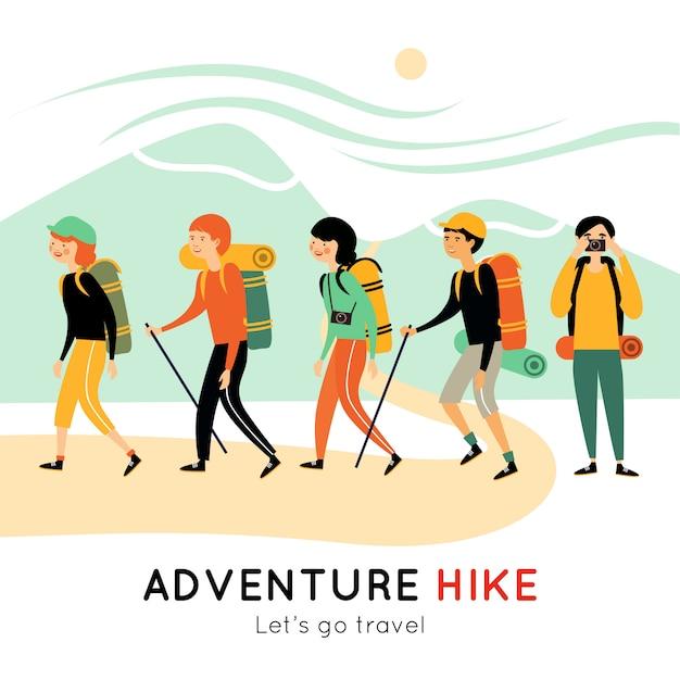 幸せな友達の冒険ハイキングイラスト 無料ベクター