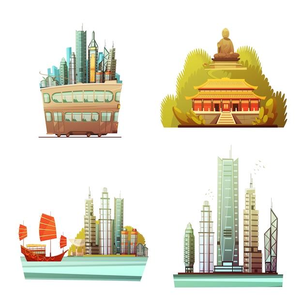 香港のデザインコンセプト 無料ベクター