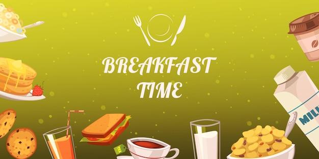 マスタードの背景に朝食のための軽食のセット 無料ベクター